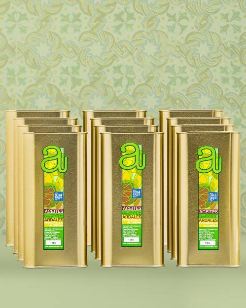 Dėžė (12 vnt. x 1000 ml) MANZANILLA ALOREÑA rūšies alyvuogių aliejaus Virgen Extra